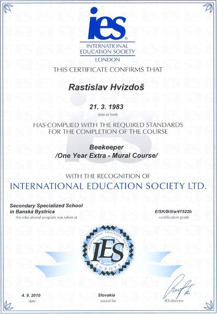 Med od Včelára certifikat